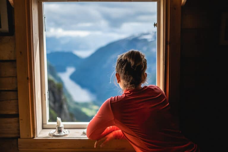 Utsikt fra et vindu.