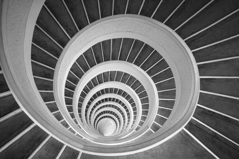 Spiraltrapp sett overnfra.